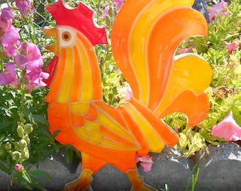 Treasury Item Vintage Kitsch Retro Mid Century Modern Orange and Yellow Lucite Rooster Free Shipping
