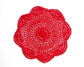 Red hand dyed Crochet Vintage Doily