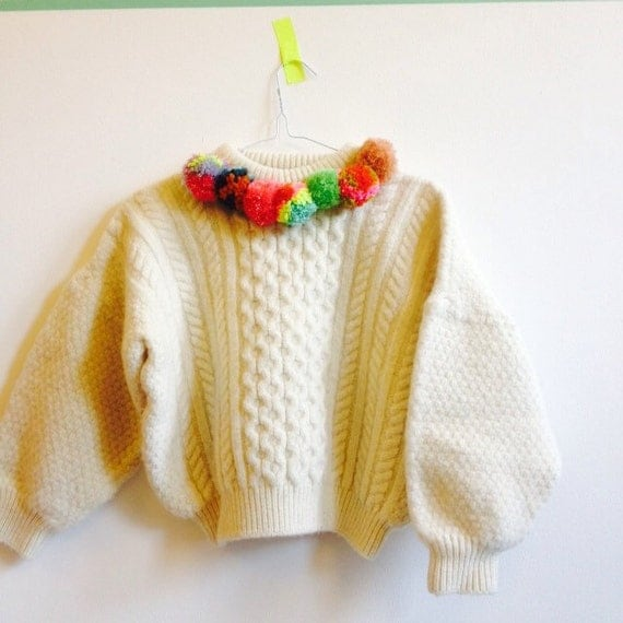 ROLL Kids 7-8 Years Childrens Wool Jumper Top Sweater with Pom Poms Upcycled Wool Unisex