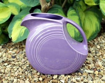 Lilac FiestaWare Pitcher, Fiesta Ware, Medium Purple, Retired Color, Large Disc Pitcher