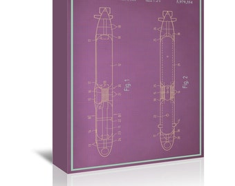 Submarine Blue Print Art Ready-to-Hang Premium Gallery Wrap Canvas