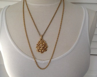 Trifari Necklace Double Layered Pendant Vintage Necklace