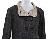 Downton Abbey Fabric Lined Swing Coat in Wool, Tweed, or Corduroy, Optional Hood