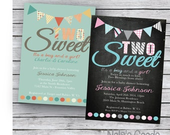 Twin Baby Shower Invitation, Two Sweet