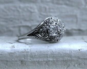 Vintage Filigree 14K White Gold Diamond Ring Engagement Ring - 0.75ct.