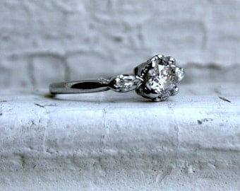 Vintage Platinum Diamond Three Stone Engagement Ring - 0.86ct.