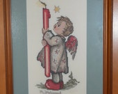 Framed Petit Needlepoint of Hummel Angel with Candle, Finished Needlework Wall Hanging, Christmas Angel