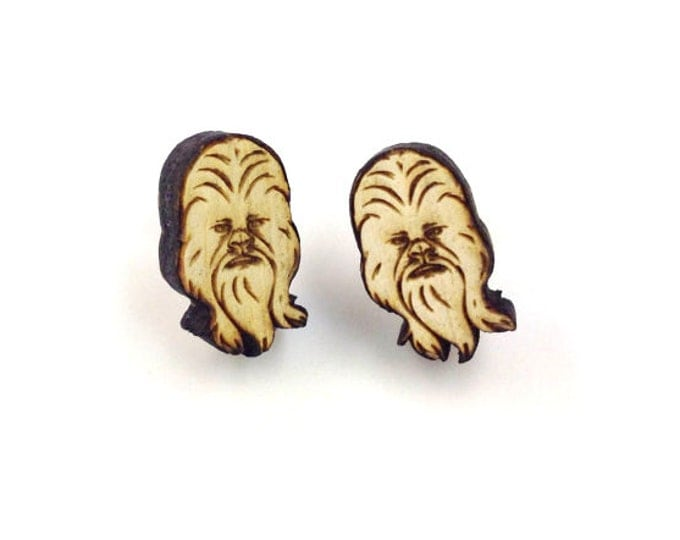 Chewbacca Earrings | Laser Cut Jewelry | Hypoallergenic Studs | Wood Earrings