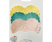 Tiny Tatty Teddy Heart Shape Doilies in Pink, Teal and Yellow, 30 Paper Lace Doilies