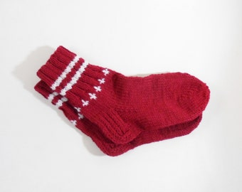 Knitted Wool Socks - Red, Size Medium