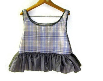 Upcycled Plaid Wool Pullover Vest Cropped/ Funky Eco Shabby Chic Tattered Vest XL