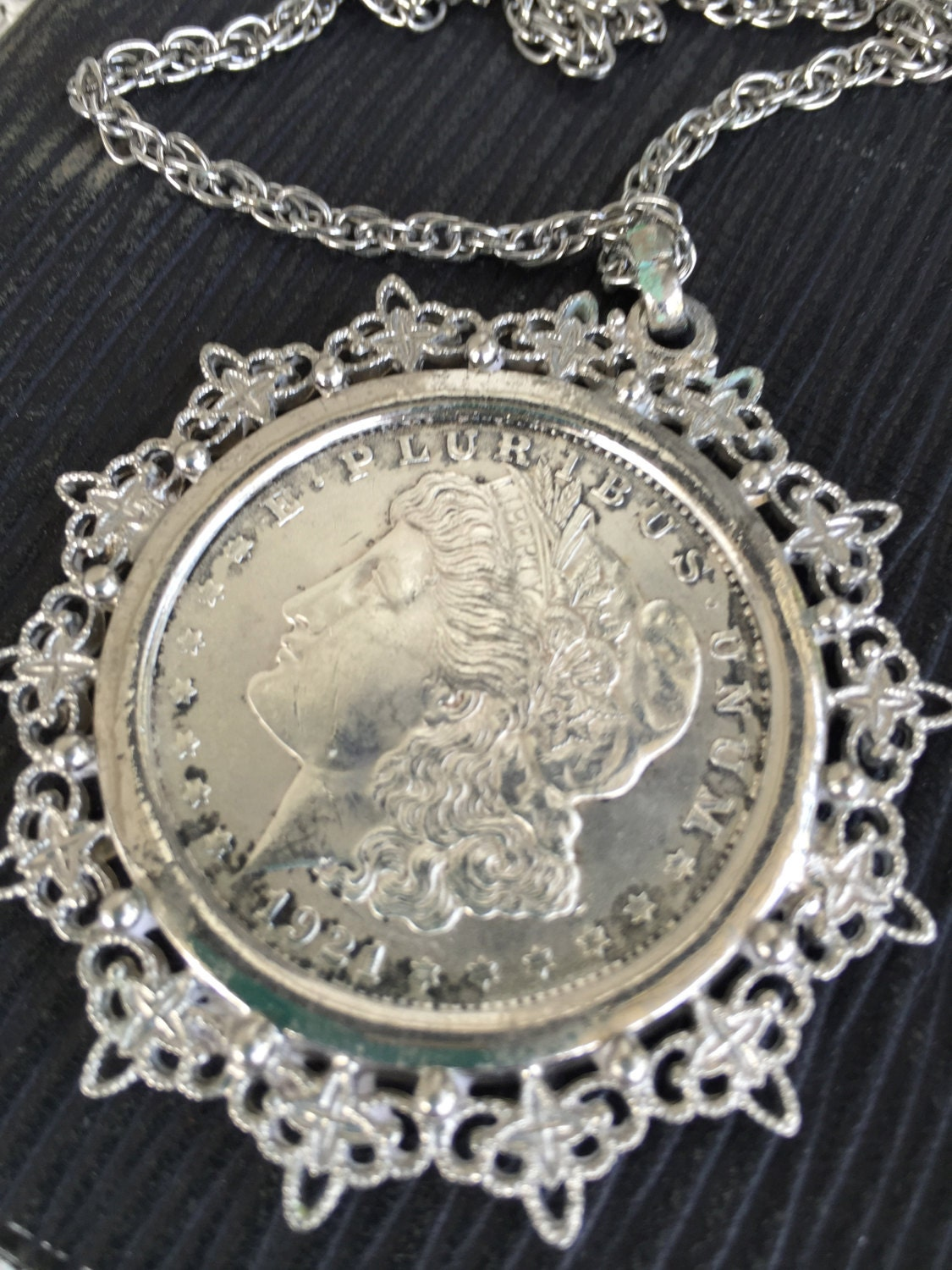 Silver Dollar Necklace 1921 Silver Dollar Antique Silver