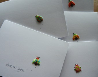 Set of 12 Bug Thank You Note Handmade Greeting cards with colorful beetle bug embellishment