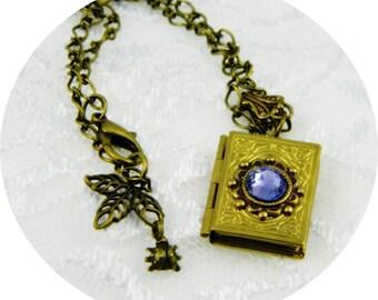 Locket-Necklace-Antique Brass- Locket-Vintage-Amethyst-Swavorski