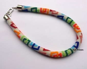 DISCOUNT - Bead Crochet Necklace - Colorful Squares Beaded Necklace - Handmade Beadwork Necklace - Colorful Squares Bead Necklace