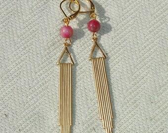 Long Golden Brass Dangle Earrings with Pink Gemstones - Brass European Leverbacks