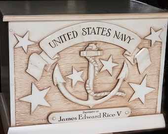 Navy Kids Toy Box Personalized with a Name or Phrase