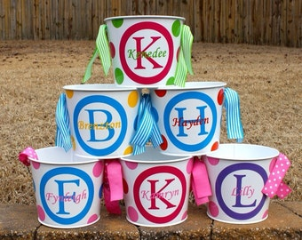 5 Qt Personalized Easter Bucket with initial name and matching  ribbon