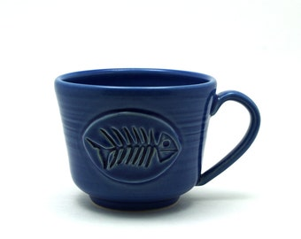 Cobalt Blue Fish Pottery Coffee Mug, Ready to Ship Fish Bones, Fishing Father or Husband Gift for Men by MiriHardyPottery