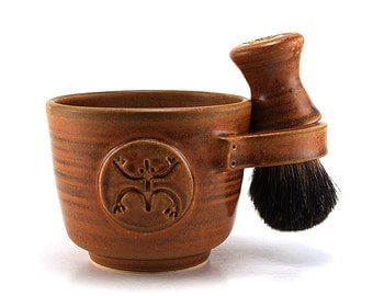 Mens Shaving Set, Coqui Frog Shave Mug, Black Badger Hair Brush and Shave Soap, Green, Blue, Brown Puerto Rico -Made to Order Allow 8 Weeks