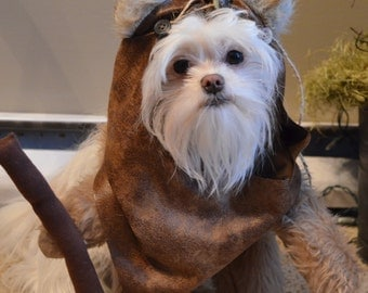 Furry Caramel short pile Darker Tan Colored Dog Halloween Costume/Hood