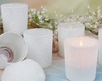12 per/  White, Winter White, Iridescent Glitter Votive Candle Holders for Weddings, Holiday Parties, Engagement Party, Sweetheart Table