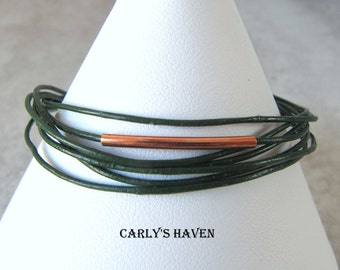 Handmade dark green leather, and bright copper unisex bracelet, ready to ship, free gift wrapping, free shipping, made in Montana