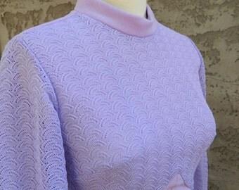 Purple Vintage Dress / Long Sleeve Lilac Dress / Montgomery Ward Full Length 1960s Formal Dress Size Large