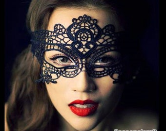Black Lace Mask, Embroidery, Appliques, Black Mask, Party Mask, Fabric,Diy,Sewing (CA34)