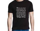 "Sherlock Holmes T Shirt, ""Eliminate the impossible....""  Sherlock T Shirt, S, M, L, Xl, Men's Crew Neck Black Tee, Sherlock Quote, Uk"