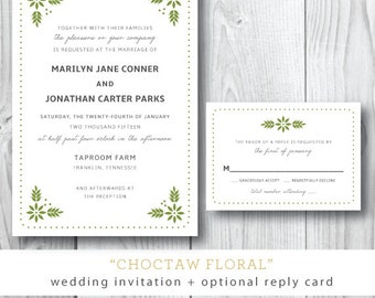 Choctaw Floral Suite | Wedding Invitation and Additonal Suite Pieces | Printed or Printable by Darby Cards