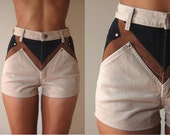 Vtg High Waist Denim Khaki Brown Black Rough Rider Jean Shorts