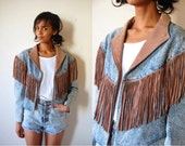 Vtg Acid Wash Denim Leather Fringed Jacket