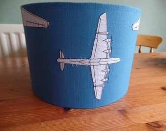 Handmade 30 cm Drum ceiling lampshade in blue, white with aeroplanes on