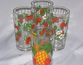 Vintage Mid-Century Strawberry drinking glasses 3 + Bonus, made by Anchor Hocking, ca. 1960s 3