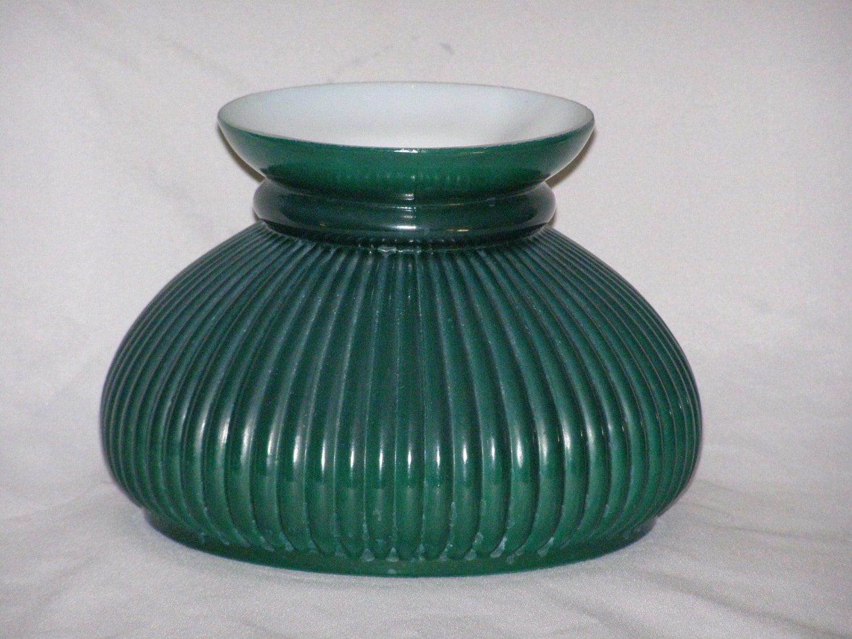 vintage glass lamp shade green in color vertical ribs. Black Bedroom Furniture Sets. Home Design Ideas