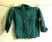 Boys Vintage Jacket, Green Lightweight Jacket, Rustic Woven Jacket, Boy's Green Shirt Jacket, Homespun Material Jacket, Boys Jacket, Coat