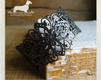Laced. Brass Cuff Bracelet -- (Vintage-Style, Victorian, Rustic Chic, Simple, Lace, Bridal, Fall, Autumn, Boho, Christmas Gift Under 25)