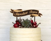 Cake Topper, Adventure Begins, Wood Ribbon