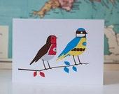 Blue Tit & Robin greetings card