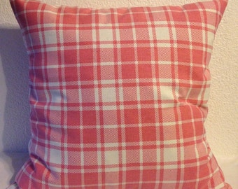 Single Pillow Cover 18x18 inch square - Home Decor Fabric-Pink and White Plaid
