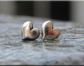 Sterling Silver Mini Heart Earrings, Puffed Heart Jewelry, Post Earrings, Handmade sterling silver post stud earrings, Mini Heart earrings