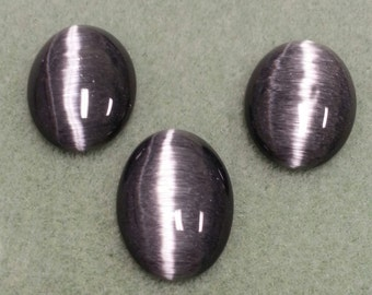 Black Fiber Optic Catseye Cabochon 25 x 18 - FOB2518
