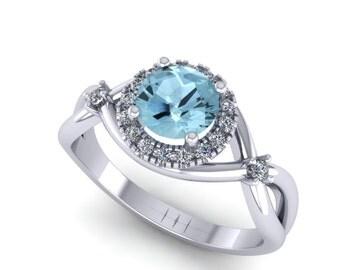 Aquamarine  14k white gold engagement ring, custom made ring,custom design ring,style 5WDAQ