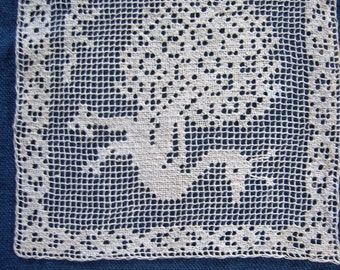 Filet Lace Peacock Square Insertion Handmade Vintage Needle lace Sewing Embellishment