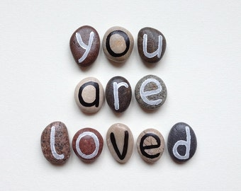 Valentine's day, 11 Magnets Love Letters, Custom Quote, Beach Pebbles, You Are Loved, Inspirational Word or Quote, Gift Ideas, Sea Stones