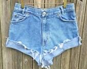 High Waisted Jean Shorts Size 6 - 28inch waist