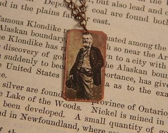 Walt Whitman necklace mixed media jewelry literature jewelry minimalist jewelry