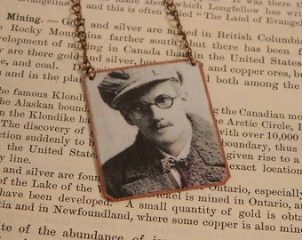 James Joyce necklace mixed media jewelry literature jewelry