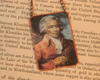 Black History necklace Chevalier de Saint Georges Composer mixed media jewelry